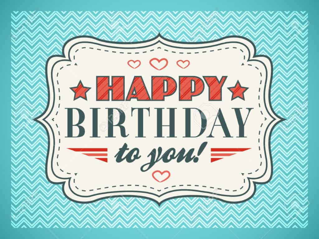 Happy birthday card. Typography letters font type. Editable for happy birthday party invitation. Gift cut out white paper on vintage blue background. illustration for your funny holiday design.