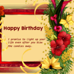 Happy birthday wish card and frame with floral beautyHappy birthday wish card and frame with floral beauty