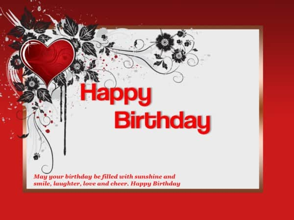 Happy birthday wishes card red love